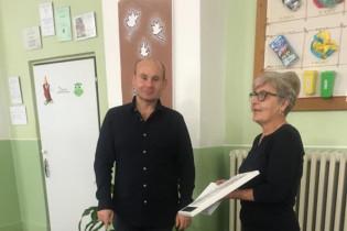 Odovzdávanie grantu na ZŠ Volkovce